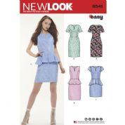 6541 New Look Pattern: Misses' Peplum Dress